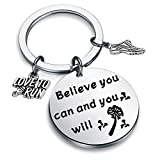 Running Gift Runner Keychain Cross Country Track Marathon Jewelry Gifts Believe You Can and You Will (silver)