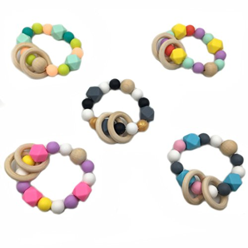 Review Of Amyster 5pcs Mix Color Silicone Beads Wooden Ring Wood Beads Bracelet Nature Safe Organic ...
