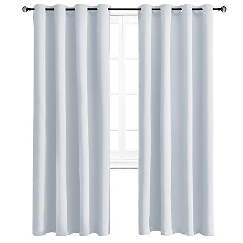 WONTEX Blackout Curtains Room Darkening Thermal Insulated Living Room Curtains, 52 x 95 inch, Greyish White, 2 Grommet Curtain Panels
