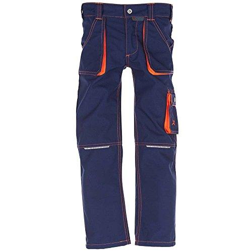 Planam Größe 98/104 Kinder Junior Bundhose Marine orange Modell 6111