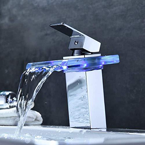 Busirsiz La Temperatura del LED de Plaza Moderno baño Grifo del Lavabo de cerámica Cobre núcleo de la válvula Luminosa del Vidrio del Color Control de Color Cromo Grifo de la práctica Hermosa