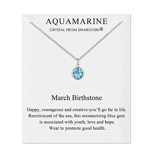 Philip Jones March (Aquamarine) Birthstone Necklace Created with Austrian Crystals