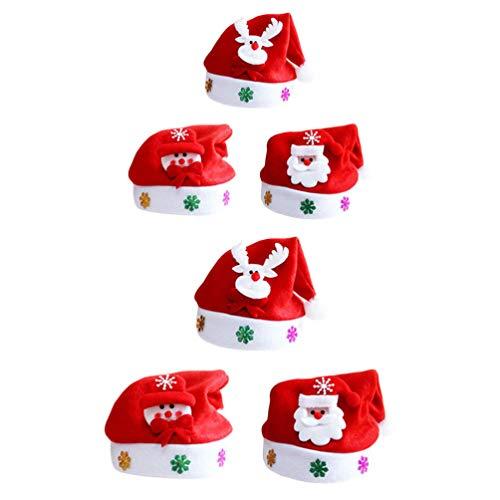 Lurrose 6 unids niños sombrero de Navidad creativo LED Santa Claus sombrero de felpa de Navidad traje sombrero para niños fiesta de Navidad Cosplay vestir suministros