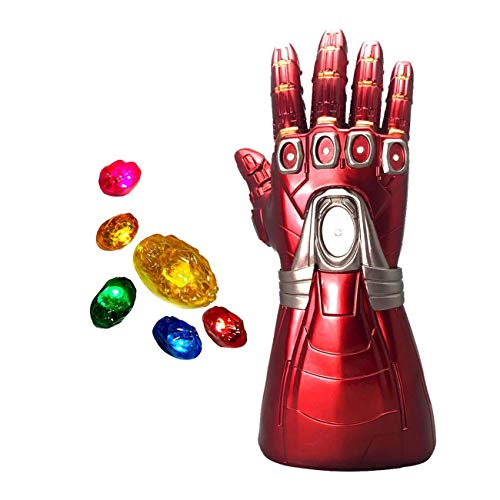 XXF-Iron Man Infinity Gauntlet,Iron Man Infinity Glove LED with Removable Magnet Infinity Stones-3 Flash Mode. Red