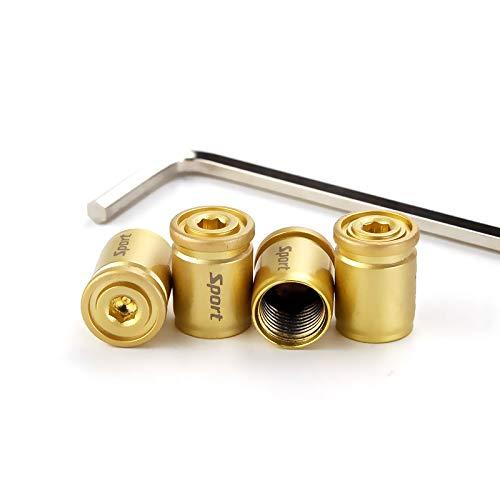 Car Tire Valve Stem Caps - 4PCS Auto Wheel Tyre Air Stems Cover Anti-Theft Dust-Proof Colored Bling Aluminum Valve Stem Caps (Gold)