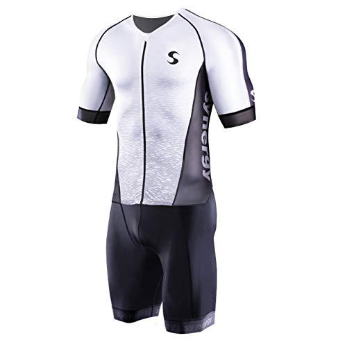 Synergy Triathlon Tri Suit - Men's PRO Short Sleeve Trisuit (White/Hatch, Small)