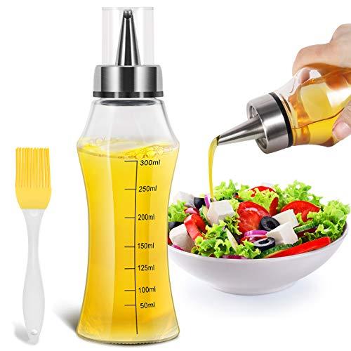 Gifort Ölflasche 400ML, Auslaufsicher Essigspender Ölflasche Glas mit Bürste, Edelstahlglas Oliven Öl Behälter BPA Frei Kochenfür BBQ Salat Braten