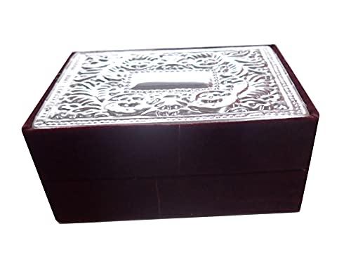 Bonita caja multiusos con fieltro burdeos y tapa de metal plateado. Ref: Blue