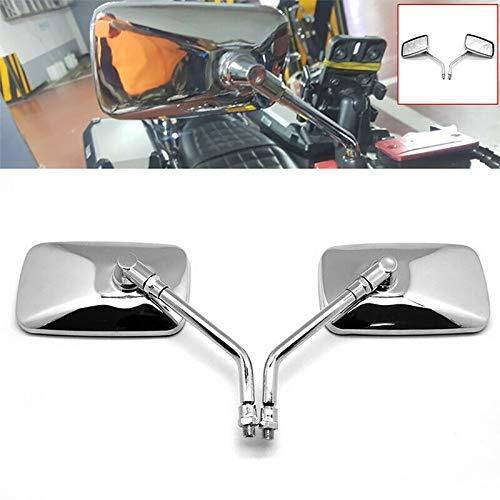 GUANG Revisión Espejo, 1PAIR 10mm Retro rectángulo de Aluminio Motocicleta Trasera Espejo Cromo Universal Ajuste para retroviseur Accesorios para Motocicletas Banhai