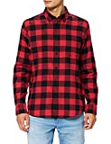 Marca Amazon - find. Long Sleeve Flannel Shirt Hombre, Rojo (Red/Black), M, Label: M