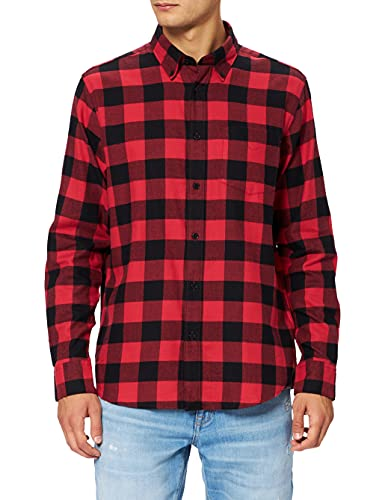 Marque Amazon - find. Long Sleeve Flannel Shirt Homme, Rouge (Red/ Black), M, Label: M
