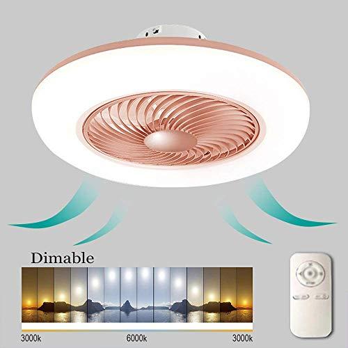 Ventiladores de techo Ventilador de techo con luz y control remoto, regulable sin escalones, bajo nivel de ruido, sala de estar, luz de ventilador invisible, silencioso, luces LED para el dormitorio