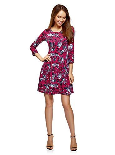 Preisvergleich Produktbild oodji Ultra Damen Tailliertes Jersey-Kleid,  Rot,  DE 36 / EU 38 / S