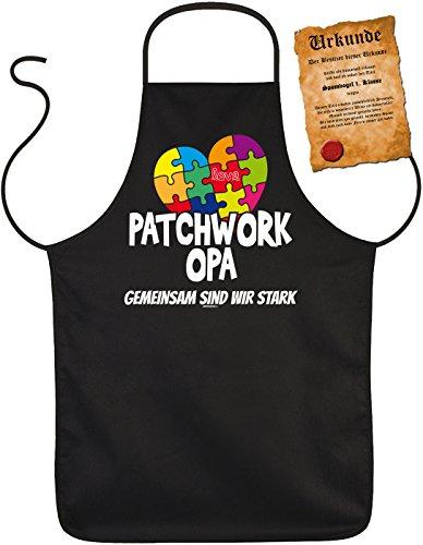 Grillschürze zum Geburtstag oder Vatertag, Kochschürze, Servierschürze, Backschürze mit Spaßurkunde - Patchwork Opa Gemeinsam sind wir stark