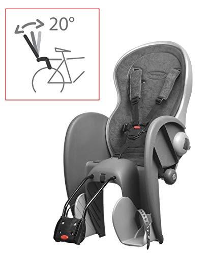 P4B | Fahrrad Kindersitz - Rahmenbefestigung hinten | Rückenteil bis 20 Grad verstellbar | Sitzposition verstellbar | Fahrradsitz für Kinder bis 22 Kg | Für 26-28 Zoll und 28-40 mm Rohrdurchmesser