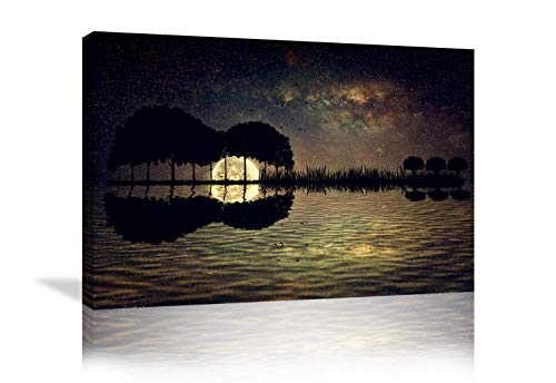 Guitar Trees Arranged in a Shape of a Guitar on a Starry Sky Background in a Full Moon Night Guitar Canvas Wall Art