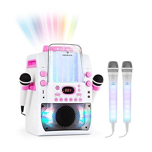 Auna Kara Liquida BT y Juego de micrófonos Dazzl - Equipo de Karaoke, Juego de Karaoke, Efecto Luminoso LED Fuente de Agua, USB, MP3, Bluetooth, Efecto Eco y función AVC, Rosa