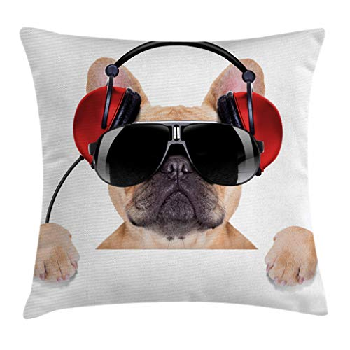 Ambesonne Popstar Party Throw Pillow Cushion Cover, Dj Bulldog with Headphones Listening to Music Behind White Banner, Decorative Square Accent Pillow Case, 16' X 16', Light Brown