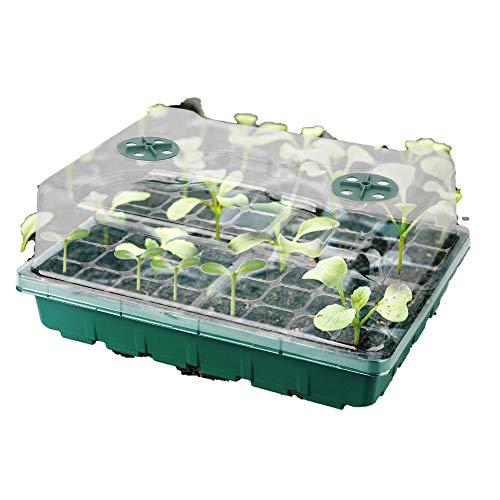 2 piezas de macetas de bandeja de 12 compartimentos caja de cultivo macetas de almacenamiento para semillas de flores de jardín parches de frutas y verduras plantación de huertos accesorios