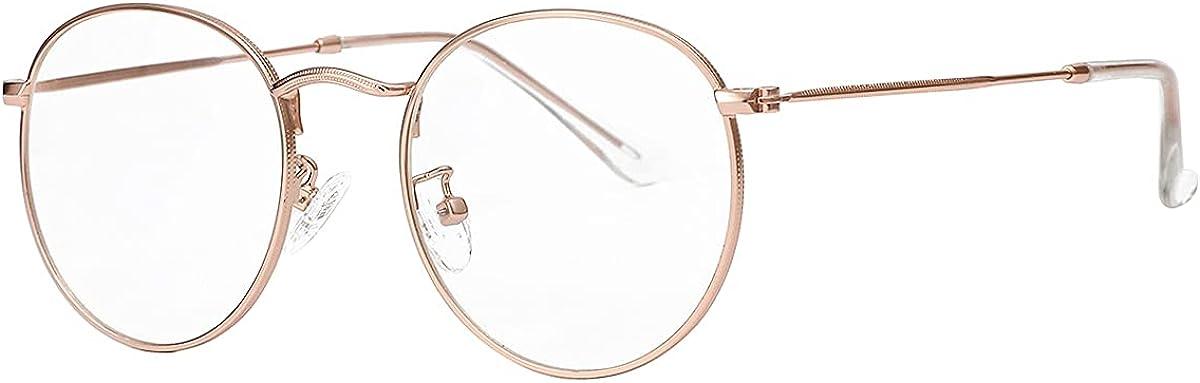Gleyemor Clear Glasses for Women Men, Classic Round Metal Frame Fake Face Glasses