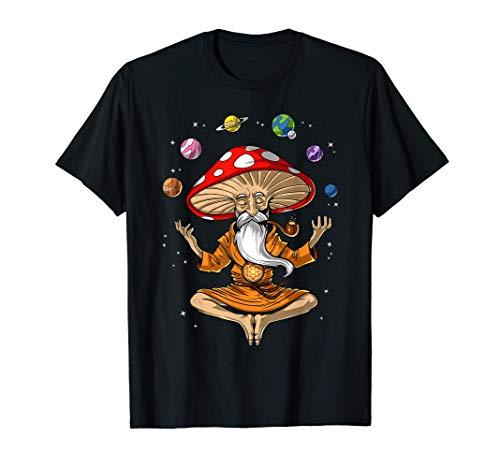 Mushroom Buddha Zen Yoga Meditation Psychedelic Hippie Fungi T-Shirt