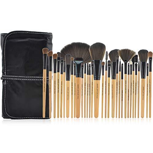 Pinceau de maquillage 32 pinceau de maquillage professionnel en fibre de bois poignée maquillage pinceau fondation correcteur rouge pinceau eyeliner lèvre sourcils cils pinceau