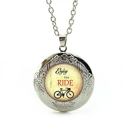 Women's Custom Locket Closure Pendant Necklace Tile Inspirational Sayings Tile Jewelry Bicycle Included Free Silver Chain, Best Gift Set