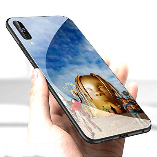 Luxury Cover for Samsung Galaxy A20 Phone Case,9H Tempered Glass Back Cover Soft Silicone Anti Scratch Bumper Design LC-125 Pop Travis Scott astroworld Protective Case