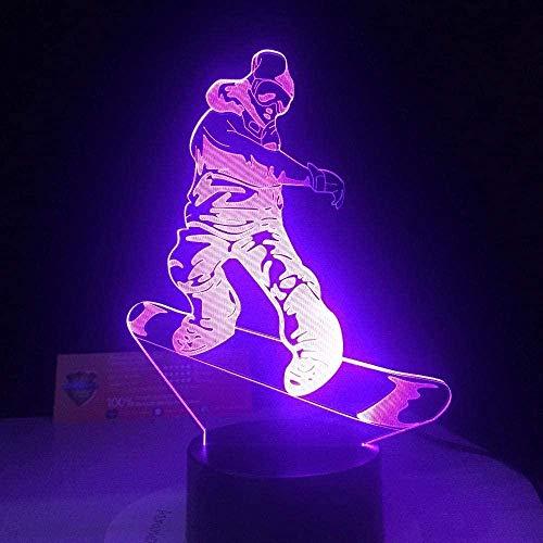 3D Illusionslampe Led Nachtlicht Snowboarden Sport Für Home Office Room Theme Dekoration Und Kinder Kinder Familienferien Geschenk