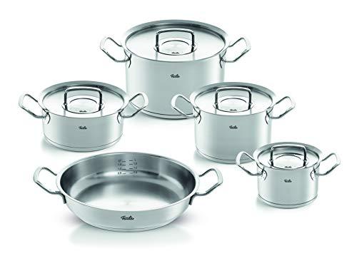 Fissler pure-profi collection / Edelstahl-Topfset, 5-teilig, Töpfe mit Metall-Deckel (3 Kochtöpfe, 1 Bratentopf, 1 Servierpfanne) - Induktion