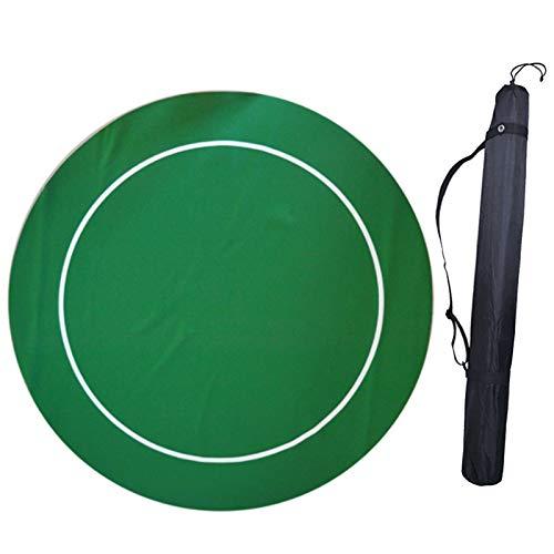 LIXILI Runder Pokertisch-Layout Mit Gummi-Griffmatten, Professioneller Texas Tragbarer Gummi-Schaum-Poker-Tischplatte, Um Karten Zu Spielen, Grün, 55-Zoll,Grün