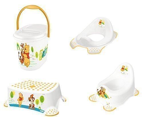 4 Set Winnie Pooh Bianco Vasino Wc +Sgabello +Pannolino