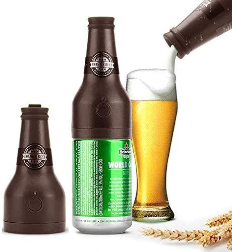 WLXW Espumador de Cerveza, Espumador de Cerveza Portátil con Batería, Burbuja Airlock, Dispensador de Espuma de Cerveza Microespuma Cremosa para Cerveza Enlatada,Marrón