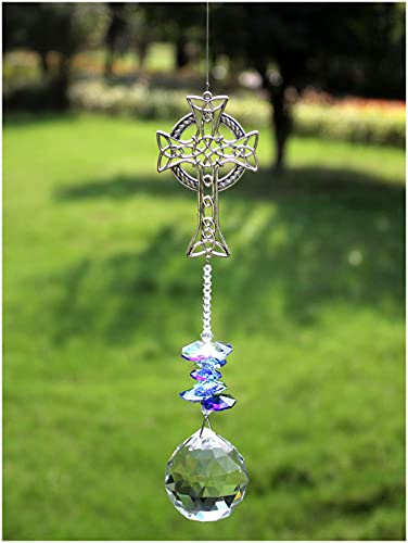 Rosleanny Celtic Cross Hanging Ornaments Crystals Prisms Rainbow Maker Home Decor Sun Catcher Hanging Decor Window Suncatcher Garden Decor Gift Boxed Gifts for Family Friends Holiday