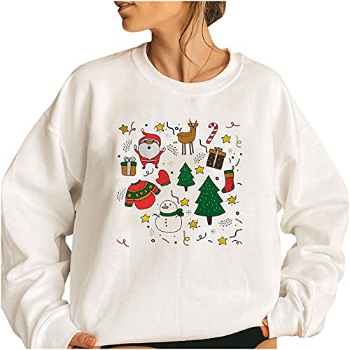 Women Cute Santa Print Christmas Tops,Plus Size Long Sleeve Crewneck Sweatshirt,Vintage Going Out Loose Fit Pullover