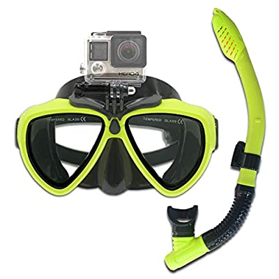 PATALACHI Action Cameras' Snorkeling Set Silicone Diving Glass Dry Top Scuba Mask, Impact Resistant Tempered Glass Panoramic Freediving Mask with Silicone Mouth Piece for GoPro Hero 8/7/6/5 (Yellow)