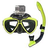 Maschera subacquea in silicone con montaggio a vite staccabile per immersioni subacquee, per fotocamera sportiva GoPro HD Hero 8/7/6/5/4/3, GoPro Session, 5/4 sessioni, DJI Osmo Action (giallo)