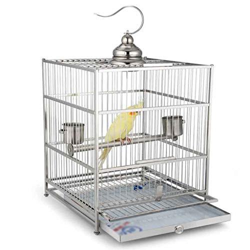 Nostalgie Jaula PáJaros Grande Hierro Forjado Cause Parrot Jaula Cuadrado Caja de Aves de Acero Inoxidable con Caja de Reproducción y Accesorios