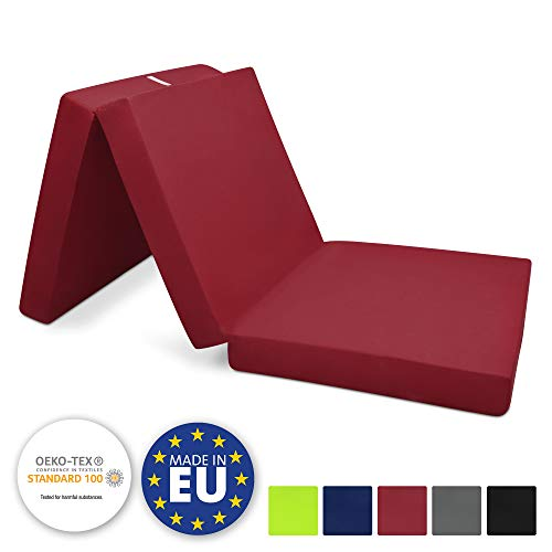 Beautissu Matelas Pliant d'appoint Campix - Pouf Pliable - 60 x 190 cm - Confortable lit d'invité - Futon - Rouge foncé