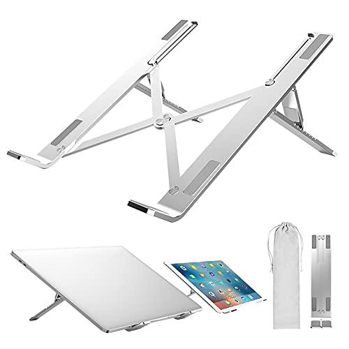 """ICE COOREL Supporto PC Portatile, Porta PC Pieghevole, Laptop Stand con 7 Tipi di Angoli Regolabili, Alluminio Ventilato Supporto per Porta Computer/MacBook/PRO/Air/iPad Laptop, 10-17.3"""""""