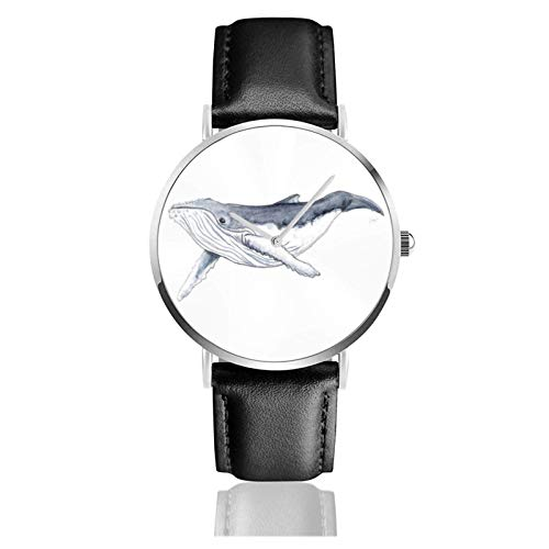 Baby Humpback Whale Megaptera Novaeangliae Watch Quartz Movement Waterproof Leather Watch Strap For Men Women Simple Business Casual Watch