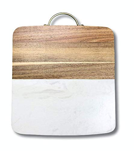 Marble and Wood Cutting Board with Brass Handle 12'x8'