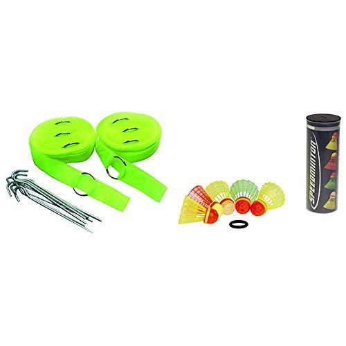 Speedminton® Easy Court Pro – Original Spielfeld für Speed Badminton/Crossminton & Speedminton Mix Speeder - 5er Pack Speed Badminton/Crossminton Bälle gemischt inkl. Windring