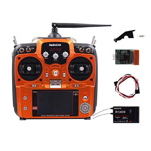 Ocamo R12DS ontvanger radiolink AT10II 12CH RC zender en ontvanger R12DS 2,4 GHz DSSS & FHSS Spread draadloze afstandsbediening voor RC drones/multicopter/helikopter - links gas oranje gashendel links