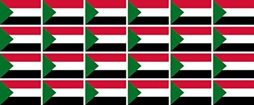 Mini Aufkleber Set - Pack glatt - 33x20mm - Sticker - Sudan - Flagge - Banner - Standarte fürs Auto, Büro, zu Hause & die Schule - 24 Stück