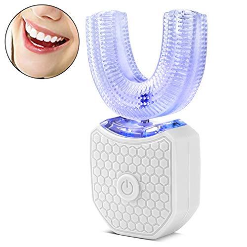 Haolv Vollautomatische 360 ° Elektrische Ultraschall-Zahnbürste Mit Variabler Frequenz, Zähne Kaltlichtaufheller Automatische Zahnbürste,Weiß