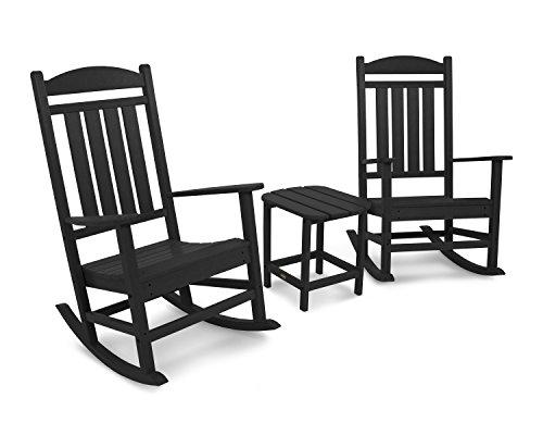 POLYWOOD PWS166-1-BL Durable Rocker Seating Set, Black