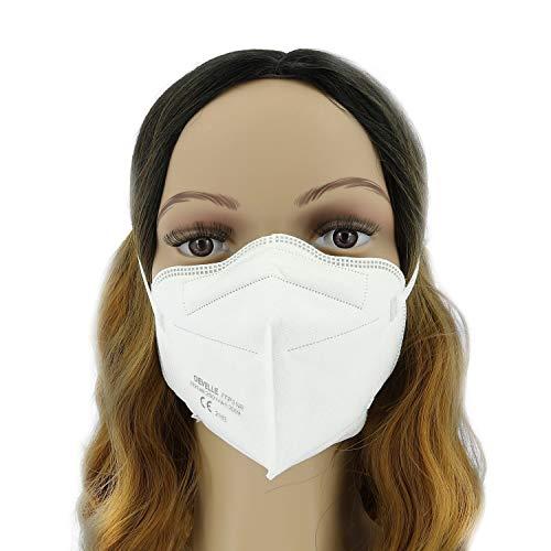FFP3 Atemschutzmaske 10 Stück Packung DEVELLE Schutz Maske mit CE Zertifizierung und Kopfband - 6