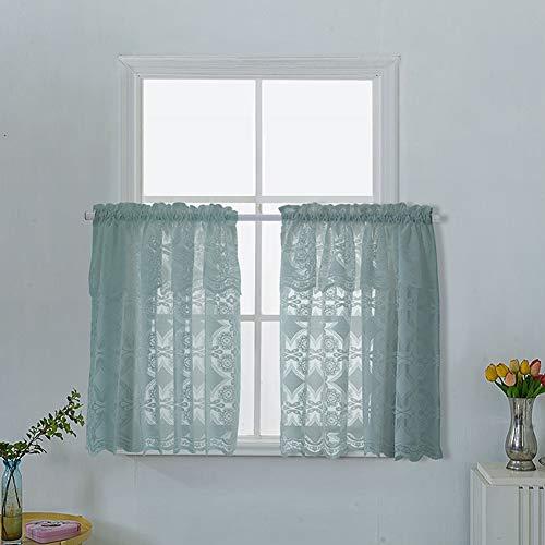 Yiwa Fenster Paravent Schal Vorhang Tür-Vorhang, Einfarbig Spitze Kurze Fenster Vorhang für Küche Cafe Badezimmer Dekor 29 EIN blaues