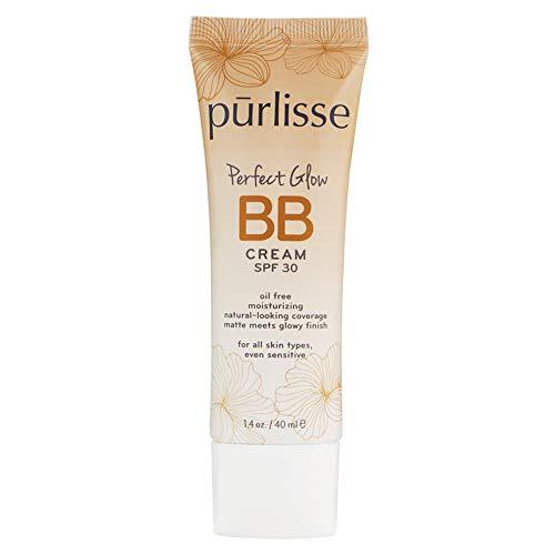 purlisse Perfect Glow BB Cream SPF 30: Cruelty-Free & Clean, Paraben & Sulfate-Free, Medium Coverage, Hydrates with Jasmine | Tan Deep 1.4oz